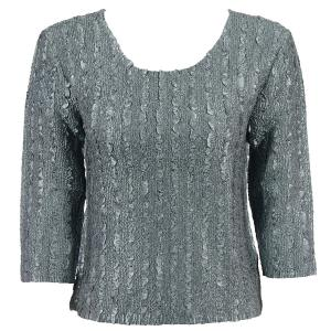 wholesale Magic Crush Three Quarter Sleeve Tops Solid Charcoal-A - One Size (S-L)