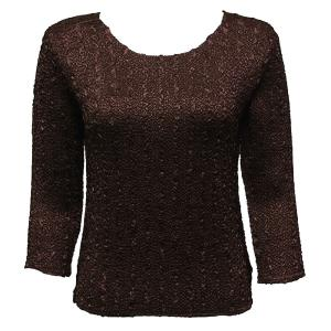wholesale Magic Crush Three Quarter Sleeve Tops Solid Dark Brown-A - One Size (S-L)