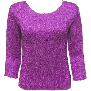 wholesale Magic Crush Three Quarter Sleeve Tops Solid Orchid-A - One Size (S-L)
