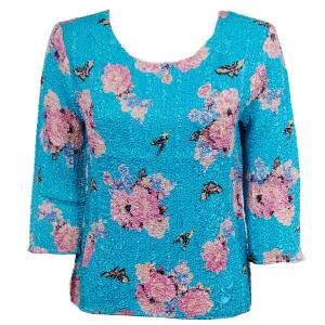 wholesale Magic Crush Three Quarter Sleeve Tops Butterfly Floral on Sky Blue (#002C) - Plus Size Fits (XL-2X)