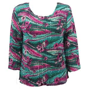 wholesale Magic Crush Three Quarter Sleeve Tops Magenta-Green Floral (#006A) - Plus Size Fits (XL-2X)