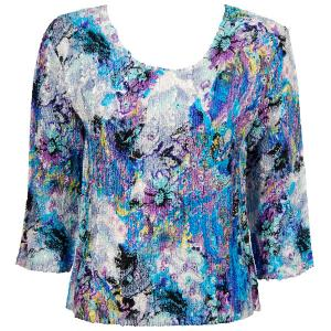wholesale Magic Crush Three Quarter Sleeve Tops Paint Splatter Aqua-Purple (#074A)  - Plus Size Fits (XL-2X)
