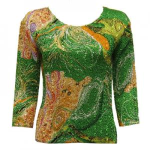 wholesale Magic Crush Three Quarter Sleeve Tops Swirl Green-Gold (#006B) - Plus Size Fits (M-1X)