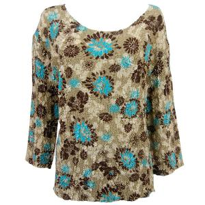 wholesale Magic Crush Three Quarter Sleeve Tops Turquoise-Brown Floral (#005A) - Plus Size Fits (XL-2X)