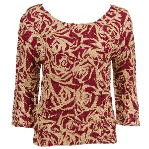 wholesale Magic Crush Three Quarter Sleeve Tops Burgundy-Champagne Print (#008C) - Plus Size Fits (XL-2X)