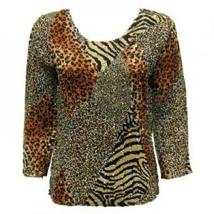 wholesale Magic Crush Three Quarter Sleeve Tops Patchwork Animal  - One Size (S-L)