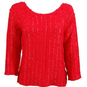 wholesale Magic Crush Three Quarter Sleeve Tops Solid Tomato-A - Plus Size Fits (M-1X)