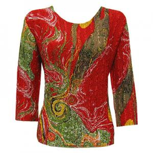 wholesale Magic Crush Three Quarter Sleeve Tops Swirl Olive-Red (#002A) - One Size (S-L)
