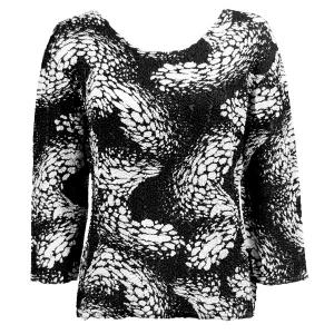 wholesale Magic Crush Three Quarter Sleeve Tops Swirl Reptile Black-White (#737A) - One Size (S-L)