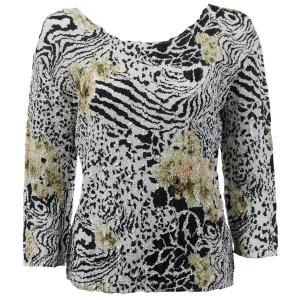 wholesale Magic Crush Three Quarter Sleeve Tops Reptile Floral - Green - Plus Size Fits (XL-2X)