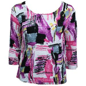 wholesale Magic Crush Three Quarter Sleeve Tops Graffiti Raspberry (#010B) - One Size (S-L)