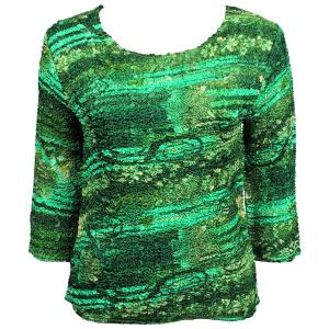 wholesale Magic Crush Three Quarter Sleeve Tops Desert Print - Green (#022A) - Plus Size Fits (XL-2X)