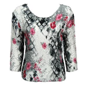 wholesale Magic Crush Three Quarter Sleeve Tops White-Black-Pink Floral-A - Plus Size Fits (XL-2X)