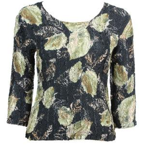 wholesale Magic Crush Three Quarter Sleeve Tops Black with Gold Leaves - One Size (S-L)