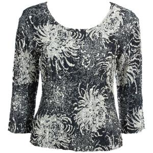 wholesale Magic Crush Three Quarter Sleeve Tops Abstract Flowers Black-Tan - One Size (S-L)