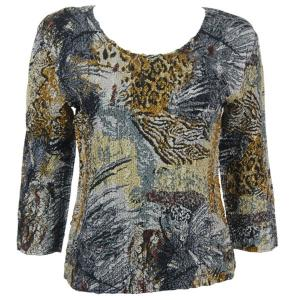 wholesale Magic Crush Three Quarter Sleeve Tops Abstract Black-Gold - One Size (S-L)