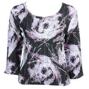 wholesale Magic Crush Three Quarter Sleeve Tops Brushstrokes Black-Purple - Plus Size Fits (XL-2X)