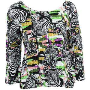 wholesale Magic Crush Three Quarter Sleeve Tops #14013 Multi Colored Abstract - One Size (S-L)