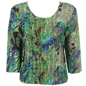 wholesale Magic Crush Three Quarter Sleeve Tops Butterfly Floral Green-Purple - Plus Size Fits (XL-2X)