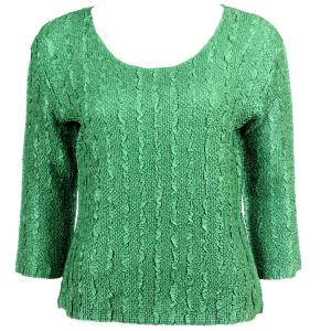 wholesale Magic Crush Three Quarter Sleeve Tops Solid Dark Green-B - Plus Size Fits (XL-2X)