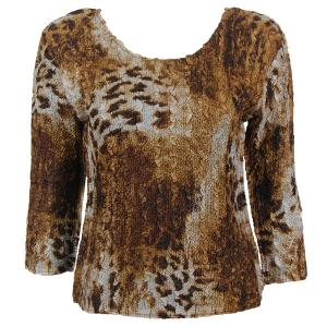 wholesale Magic Crush Three Quarter Sleeve Tops Giraffe Brown - One Size (S-L)