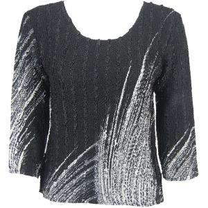 wholesale Magic Crush Three Quarter Sleeve Tops Lines - White on Black (#161A) - Plus Size Fits (XL-2X)