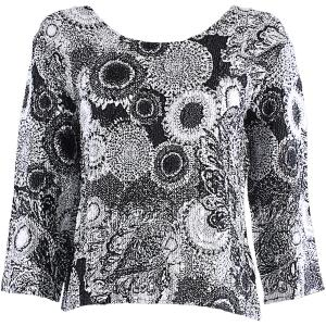 wholesale Magic Crush Three Quarter Sleeve Tops #14018 Black and White Abstract Flowers - One Size (S-L)