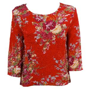 wholesale Magic Crush Three Quarter Sleeve Tops Raspberry Floral on Red - Plus Size Fits (XL-2X)