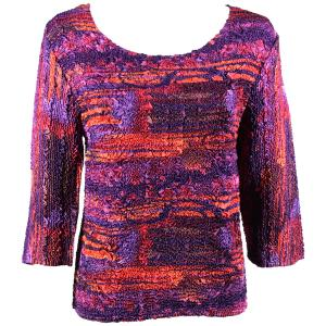 wholesale Magic Crush Three Quarter Sleeve Tops Desert Print - Purple-Orange (#024A) - Plus Size (XL-2X)