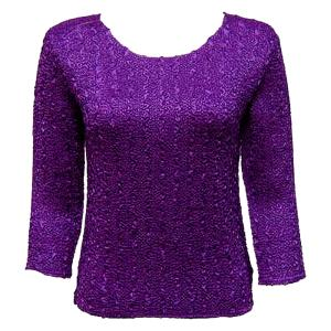 wholesale Magic Crush Three Quarter Sleeve Tops Solid Dark Purple-B Two Ply - One Size (S-L)