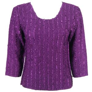 wholesale Magic Crush Three Quarter Sleeve Tops Solid Eggplant-B Two Ply - Plus Size Fits (XL-2X)