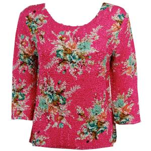 wholesale Magic Crush Three Quarter Sleeve Tops Mini Bouquet on Pink - Plus Size Fits (XL-2X)