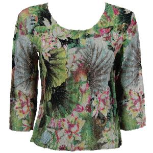 wholesale Magic Crush Three Quarter Sleeve Tops Lime-Coral Floral - Plus Size (XL-2X)