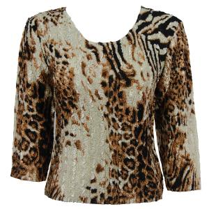 wholesale Magic Crush Three Quarter Sleeve Tops Bronze Leopard - Plus Size (XL-2X)