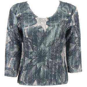 wholesale Magic Crush Three Quarter Sleeve Tops Silver Abstract  - Plus Size (XL-2X)