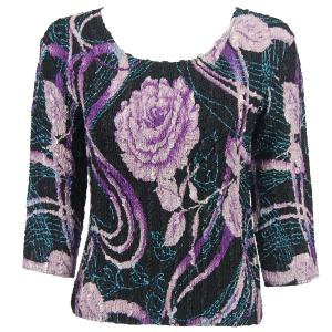 wholesale Magic Crush Three Quarter Sleeve Tops Abstract Floral Purple-Rose - Plus Size (XL-2X)
