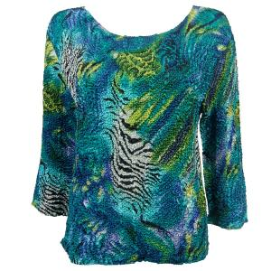 wholesale Magic Crush Three Quarter Sleeve Tops Abstract Zebra Blue-Green  - Plus Size Fits (XL-2X)
