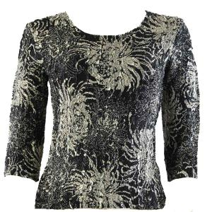 wholesale Magic Crush Three Quarter Sleeve Tops Abstract Flowers Black-White - Plus Size Fits (XL-2X)