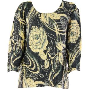 wholesale Magic Crush Three Quarter Sleeve Tops Gold-Rose Floral - Plus Size Fits (XL-2X)