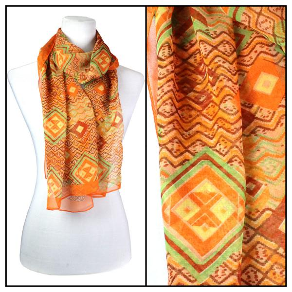 Silky Dress Scarves Diamonds - Orange -