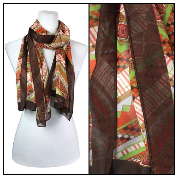 Silky Dress Scarves Zig Zag - Brown -
