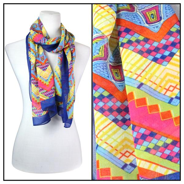 Silky Dress Scarves Zig Zag - Royal -