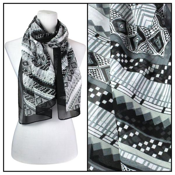 Silky Dress Scarves Zig Zag - Black -