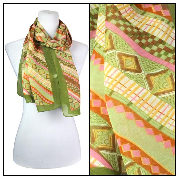 Silky Dress Scarves Zig Zag - Olive -