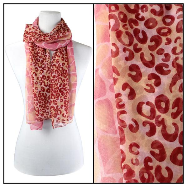 Silky Dress Scarves Giraffe-Leopard - Raspberry -