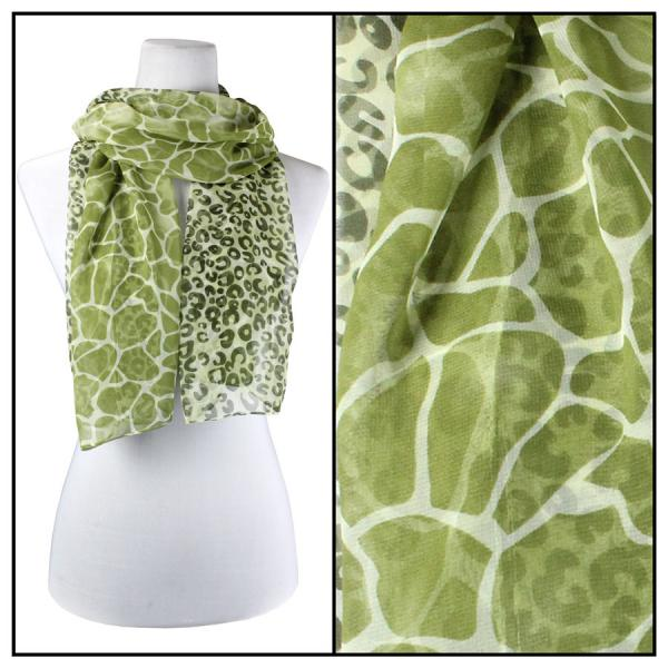 Silky Dress Scarves Giraffe-Leopard - Green -