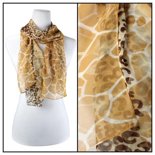 Silky Dress Scarves Giraffe-Leopard - Gold -