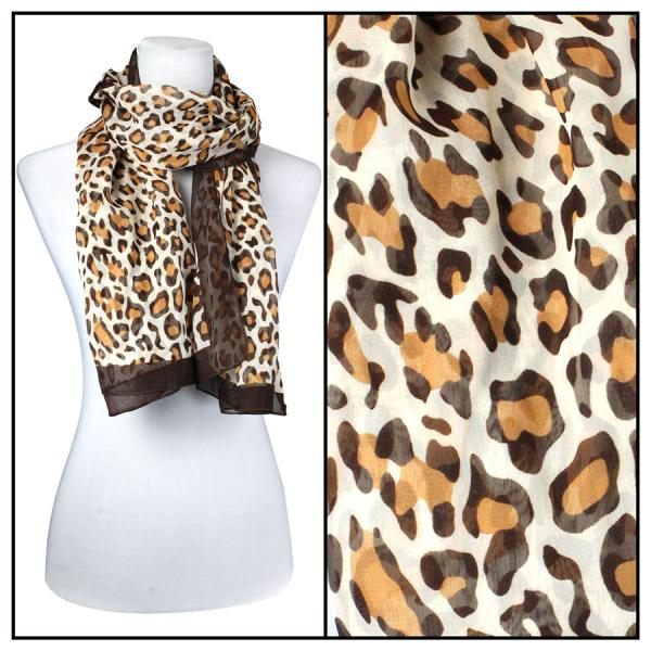 Silky Dress Scarves Cheetah - Brown -