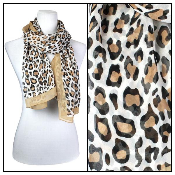 Silky Dress Scarves Cheetah - Camel -