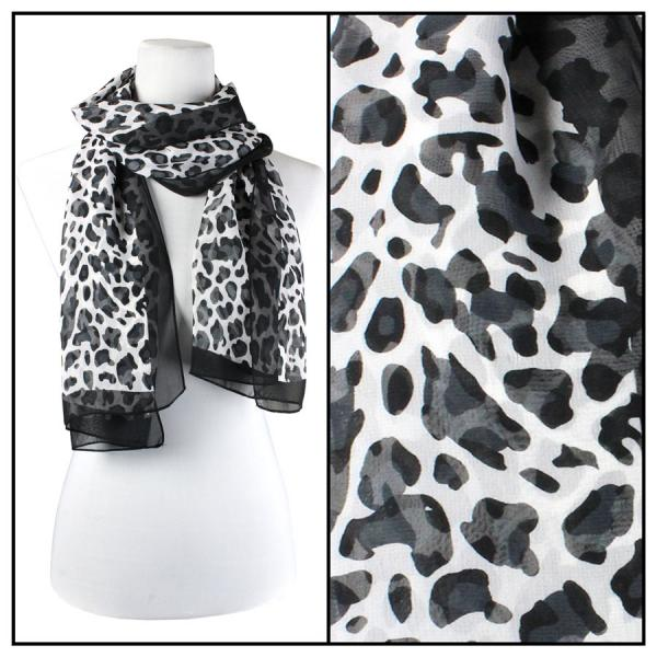 Silky Dress Scarves Cheetah - Black-White -
